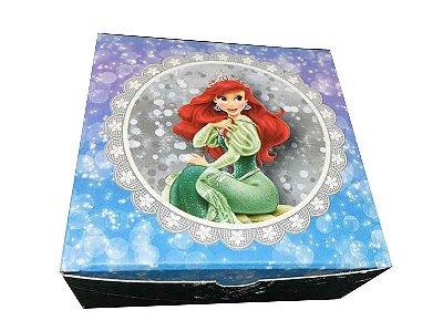 Caixa Princesa Ariel /  04 Brigadeiros - 8x8x3,5