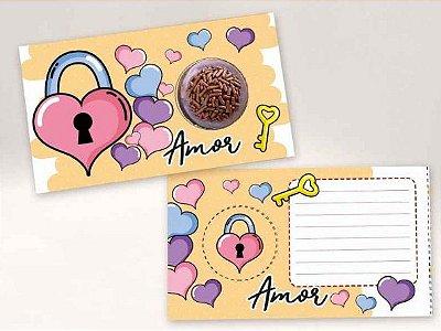 Cartão Blister Cadeado Coração