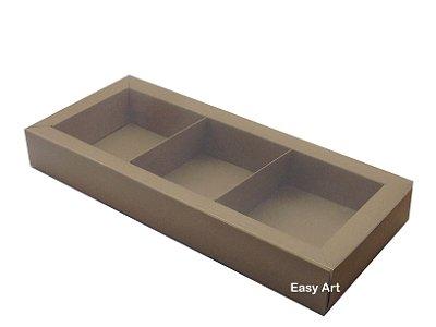 Caixas para 03 Brownies / Biscoitos / Brigadeiros / Sabonetes - Marrom Claro