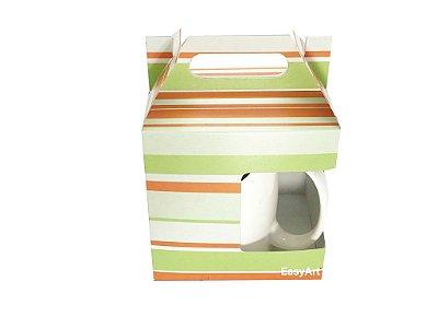 Caixa para Canecas - Listrado Verde e Laranja