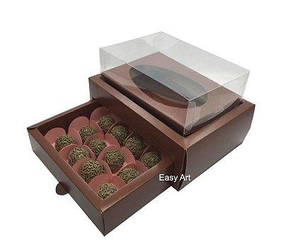 Caixa Ovo de Colher 250g - Gaveta para 12 Bombons / Marrom