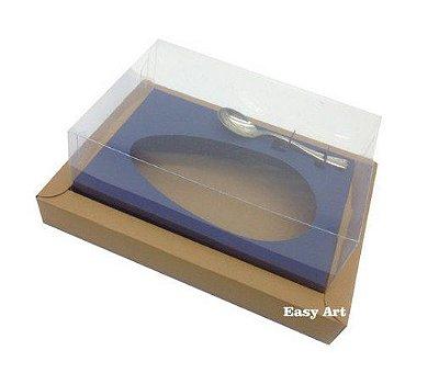 Caixa para Ovos de Colher 250g - Kraft / Azul Marinho