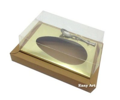 Caixa para Ovos de Colher 350g - Kraft / Dourado