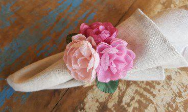 Porta Guardanapos  / Flores de Tecido - Mini Peônia