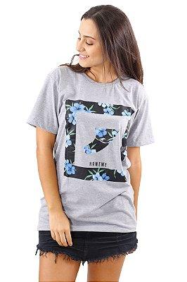 Camiseta Hawewe Surf  Mescla Quilha Floral Azul