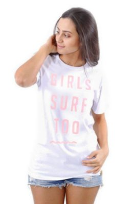 Camiseta Hawewe Branca Girls Surf  Too rosa