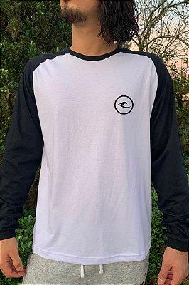 Camiseta Raglan Manga Longa Hawewe Preta Logo