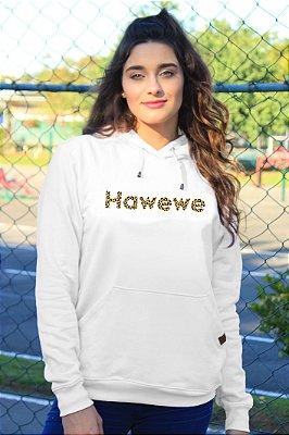 Moletom Hawewe Animal Print com Capuz Branco