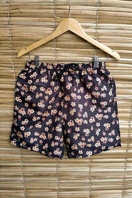 Shorts Masculino Hawewe Floral Preto e Laranja