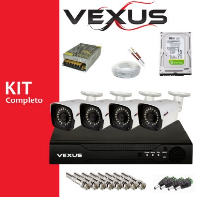 KIT MONITORAMENTO 4 CÂMERAS  FULL HD 1080P VEXUS COM DVR 4 CANAIS MULTI 5 IN 1