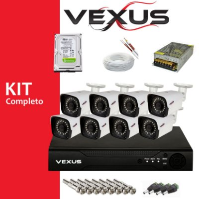 KIT MONITORAMENTO 8 CÂMERAS FULL HD 1080P VEXUS COM DVR 8 CANAIS MULTI 5 IN 1