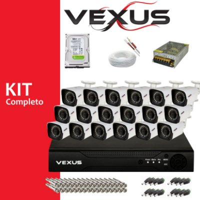 Kit Monitoramento 16 Câmeras Hd 720p + Dvr 16 Canais  Cnf