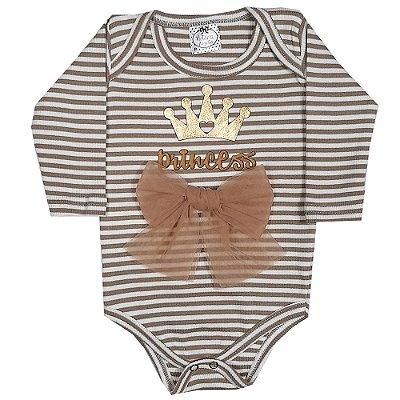 Body Bebê Princess Listrado Com Laço