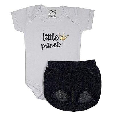 Conjunto Bebê Body Little Prince + Tapa Fralda Jeans