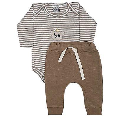 Conjunto Bebê Body Listras baby + Calça Saruel Marrom