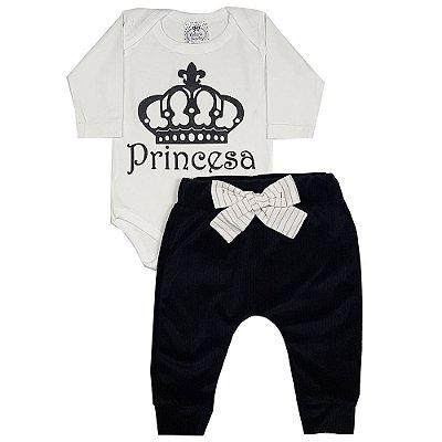 Conjunto Bebê Body Princesa + Calça Saruel Veludo