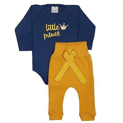 Conjunto Bebê Body Little Prince + Calça Amarela