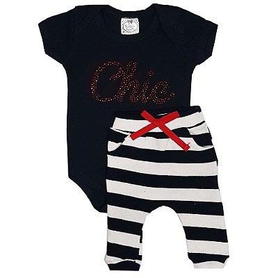 Conjunto Bebê Body Chic Preto + Calça De Ribana Listrada