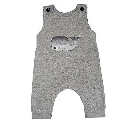Macacão Bebê Baleia Cinza