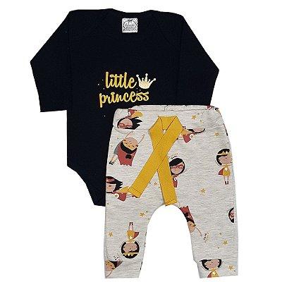 Conjunto Bebê Body Preto Little Princess + Calça Saruel Estampada