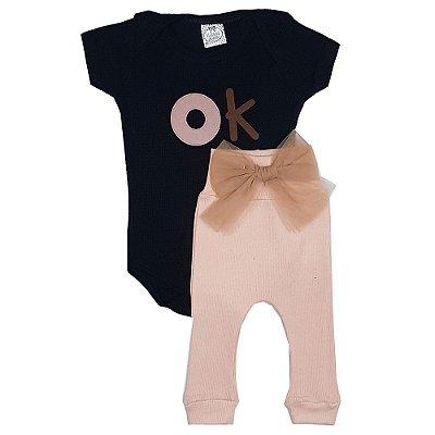 Conjunto Bebê OK Preto