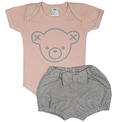 Conjunto Bebê Body Urso Rosa + Shorts Cinza