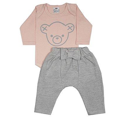 Conjunto Bebê Body Urso Rosa + Calça Saruel Cinza