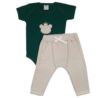 Conjunto Bebê Body Urso Verde + Calça Saruel Marrom