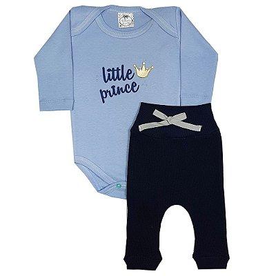 Conjunto Bebê Body Little Prince Azul + Calça De Ribana