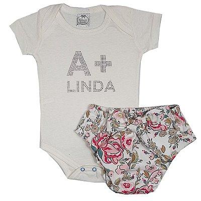 Conjunto Bebê Body A+ Linda  Com Calcinha