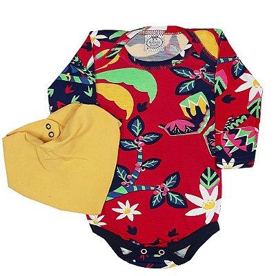 Body Bebê Tropical + Bandana Amarela