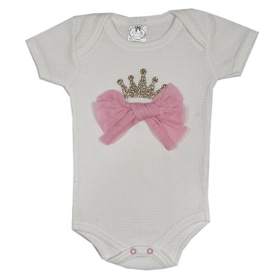 Body Bebê Laço Com Coroa