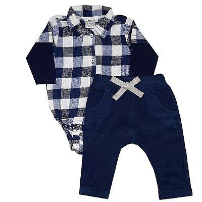 Conjunto Bebê Body Flanela Xadrez Azul + Calça Saruel
