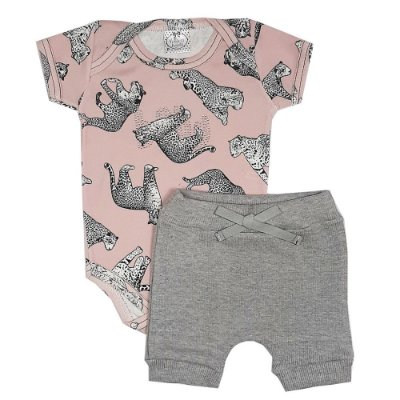 Conjunto Bebê Body Onça Rosa + Shorts Cinza