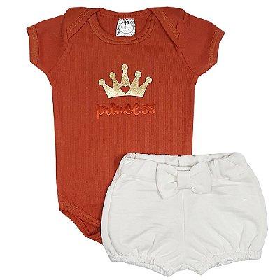 Conjunto Bebê Body Princess + Shorts Com Lacinho