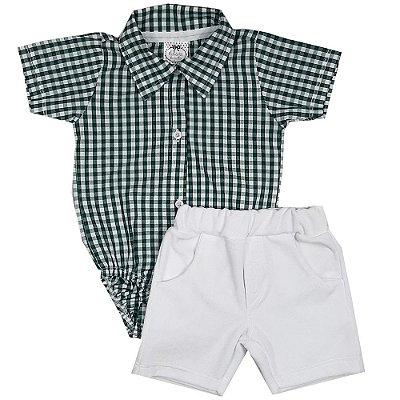 Conjunto Bebê Body Tecido Xadrez Verde + Shorts Branco