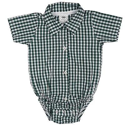 Body Bebê Tecido Xadrez Verde