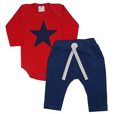 Conjunto Bebê Estrela Azul Marinho