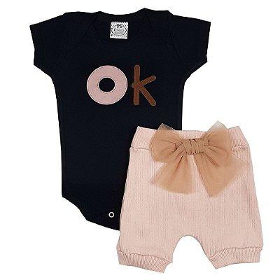 Conjunto Bebê Body Ok Preto + Shorts Com Laço Rosa