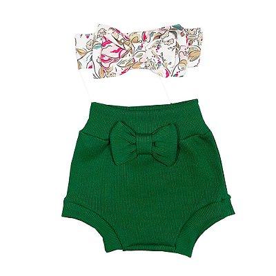 Conjunto Bebê Shorts Tapa Fralda + Turbante