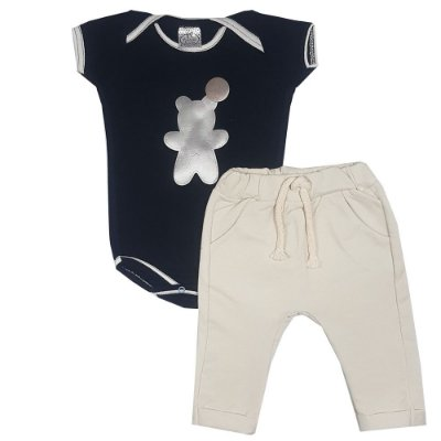 Conjunto Bebê Body Preto Urso + Calça Saruel