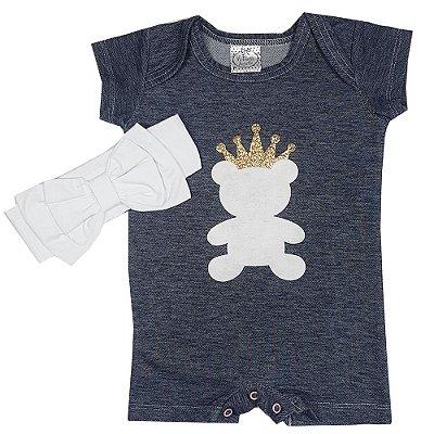 Macacão Bebê Urso Jeans + Faixa