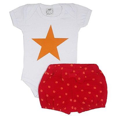 Conjunto Bebê Body Estrela Amarela + Shorts