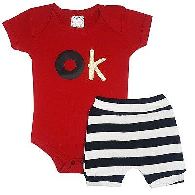 Conjunto Bebê Body Ok Vermelho + Shorts Listrado