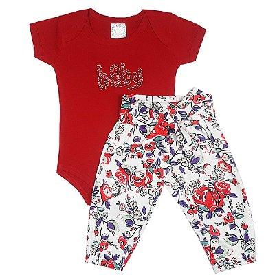 Conjunto Bebê Body Baby Vermelho + Calça Floral
