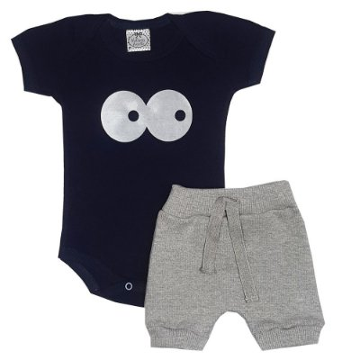Conjunto Bebê Tô De Olho Azul Marinho