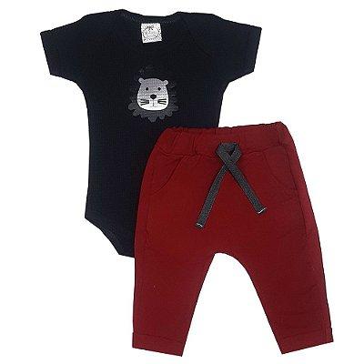 Conjunto Bebê Body Leão + Calça Saruel Vermelha