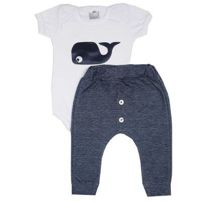 Conjunto Bebê Body Baleia Branco + Calça Saruel Jeans