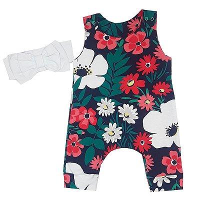Macacão Bebê Floral + Faixa