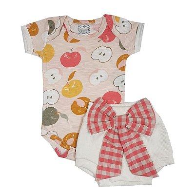Conjunto Bebê Body Maçã + Tapa Fralda Com Laço Xadrez